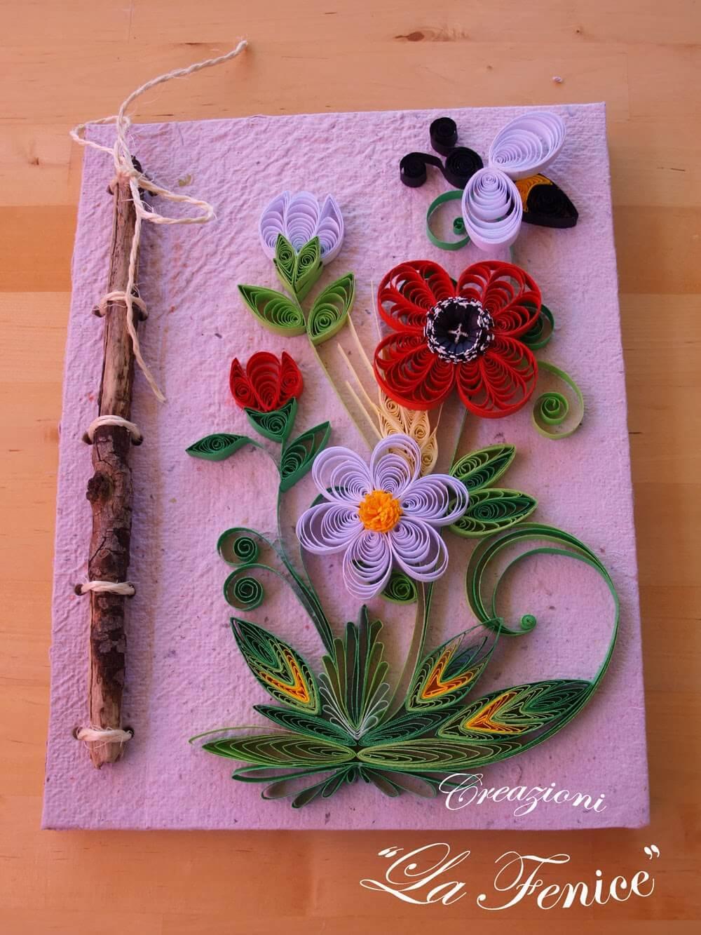 Realizzazione in carta riciclata con decorazioni a quilling