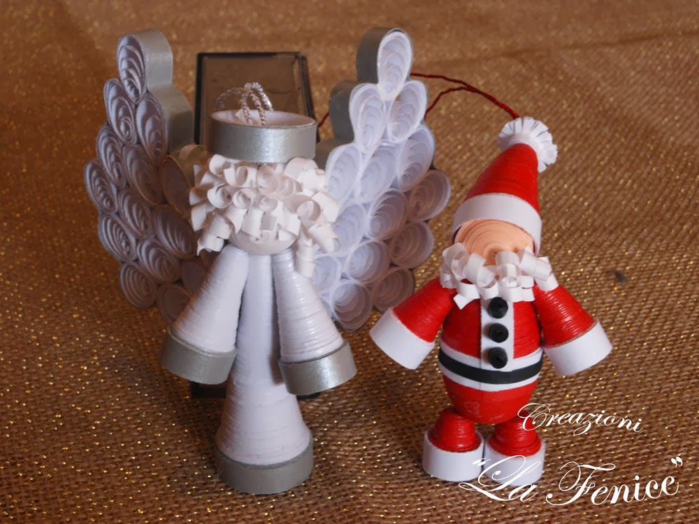 Angelo e babbo natale a quilling